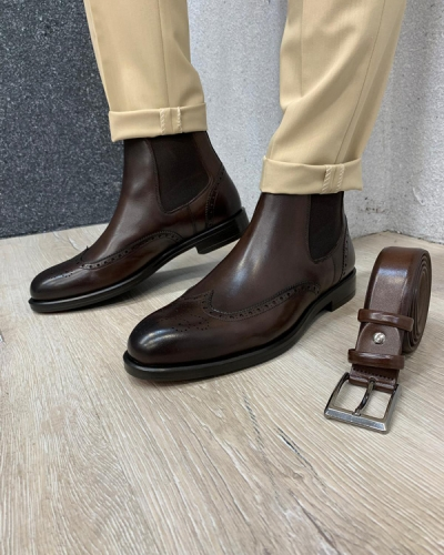 Coffee Wingtip Chelsea Boots by GentWith.com with Free Shipping