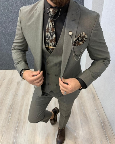 Coffee Slim Fit Bird's Eye Wool Suit by GentWith.com with Free Shipping