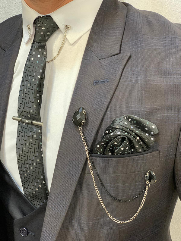 Coffee Slim Fit Check Wool Suit by GentWith.com with Free Shipping