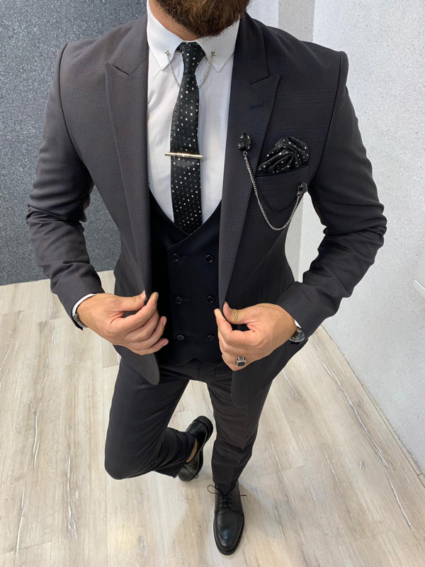 Coffee Slim Fit Glen Check Wool Suit by GentWith.com with Free Shipping