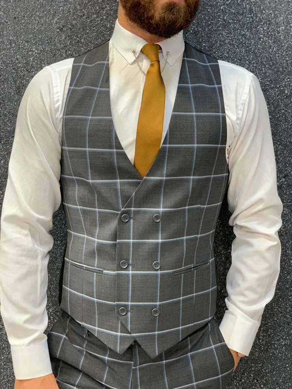 Dark Gray Slim Fit Plaid Check Wool Suit by GentWith.com with Free Shipping