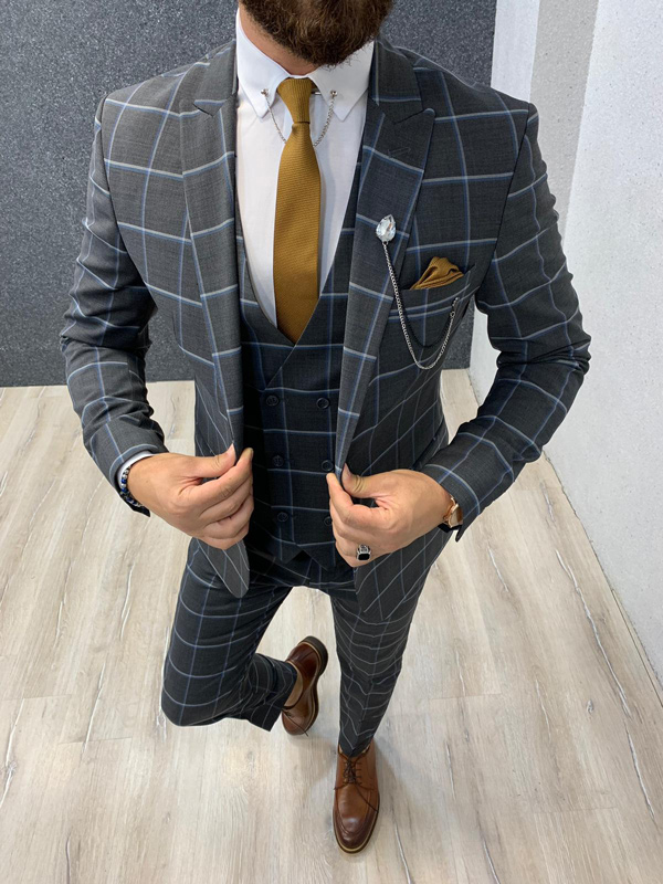 Dark Gray Slim Fit Windowpane Wool Suit by GentWith.com with Free Shipping