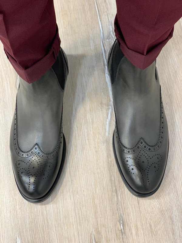 Gray Wingtip Chelsea Boots by GentWith.com with Free Shipping