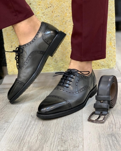 Gray Lace Up Cap Toe Oxford by GentWith.com with Free Shipping