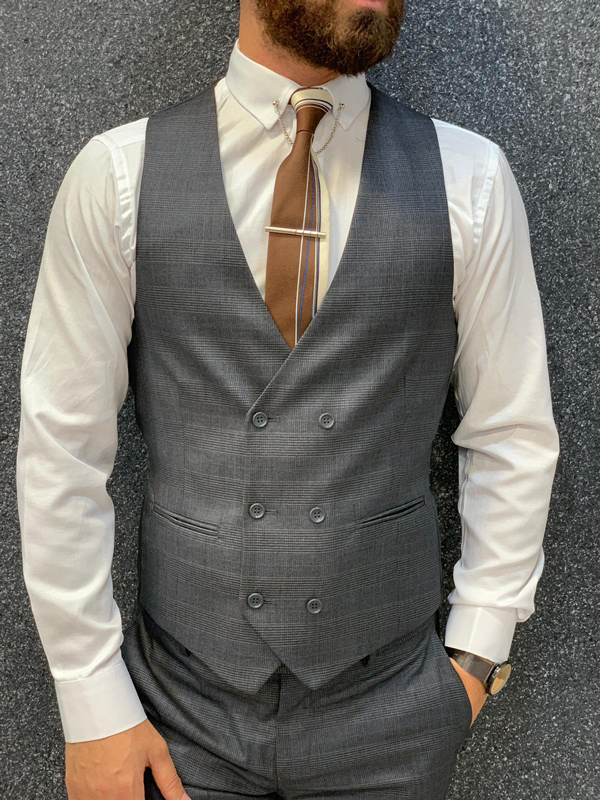 Gray Slim Fit Glen Check Wool Suit by GentWith.com with Free Shipping