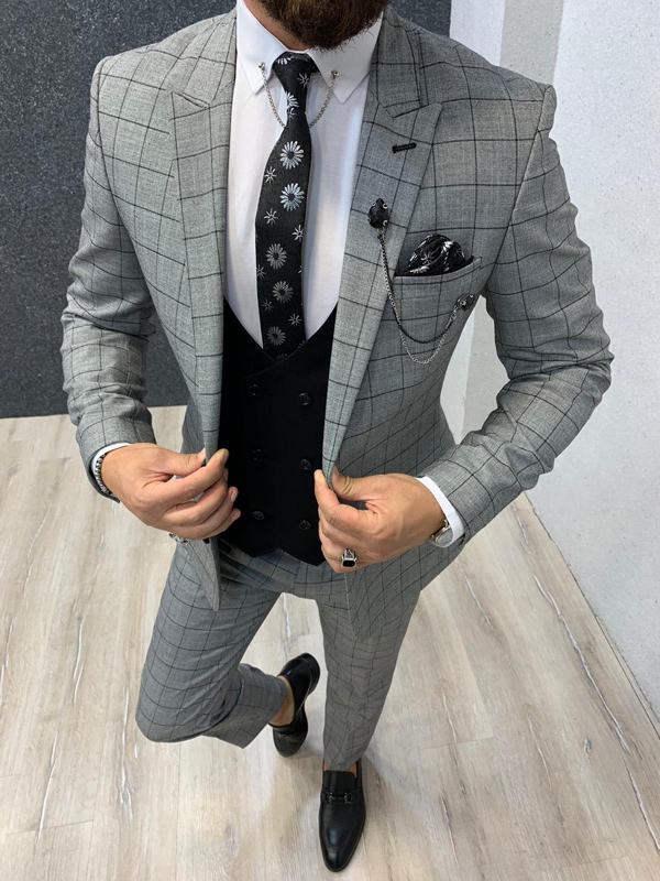 Gray Slim Fit Plaid Check Wool Suit by GentWith.com with Free Shipping