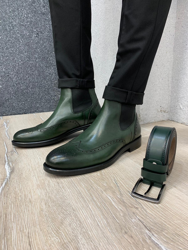 Green Wingtip Chelsea Boots by GentWith.com with Free Shipping
