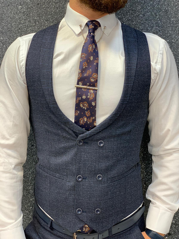 Navy Blue Slim Fit Glen Check Wool Suit by GentWith.com with Free Shipping