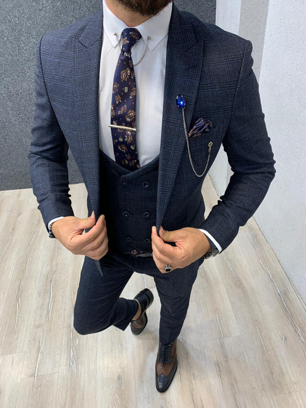 Navy Blue Glen Check Wool Suit by GentWith.com with Free Shipping