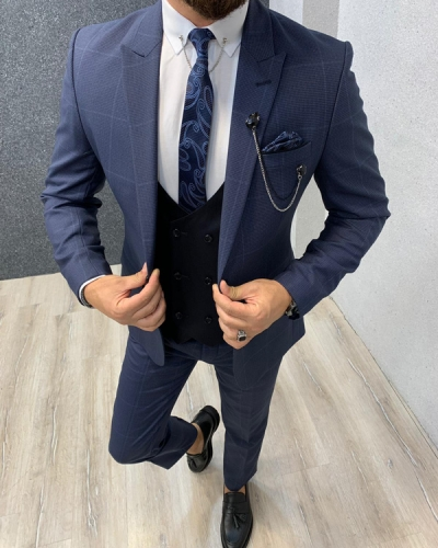 Navy Blue Slim Fit Windowpane Wool Suit by GentWith.com with Free Shipping