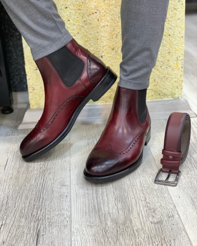 Red Wingtip Chelsea Boots by GentWith.com with Free Shipping
