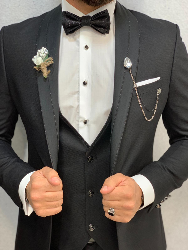 Black Slim Fit Shawl Collar Tuxedo by GentWith.com with Free Shipping