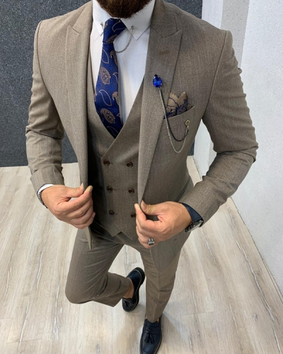 Beige Slim Fit Crosshatch Wool Suit by GentWith.com with Free Shipping