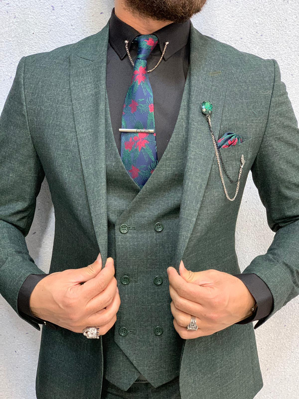 Green Crosshatch Wool Suit by GentWith.com with Free Shipping