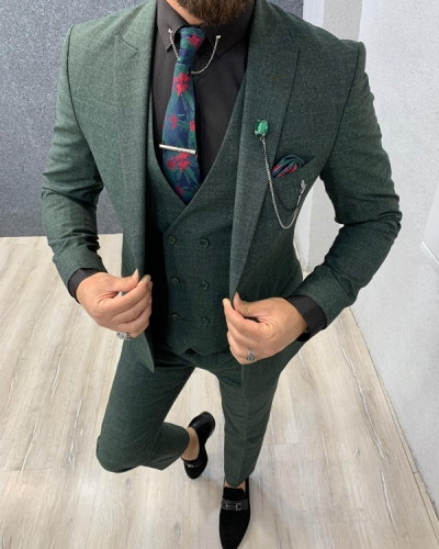 Green Slim Fit Crosshatch Wool Suit by GentWith.com with Free Shipping