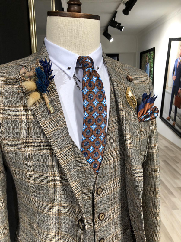 Brown Prince of Wales Plaid Suit by GentWith.com with Free Shipping