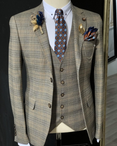 Brown Slim Fit Prince of Wales Plaid Suit by GentWith.com with Free Shipping