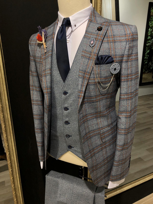 Dark Blue Slim Fit Glen Check Plaid Suit by GentWith.com with Free Shipping