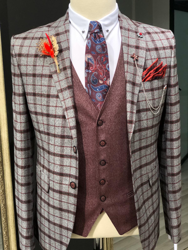 Red Slim Fit Plaid Check Suit by GentWith.com with Free Shipping