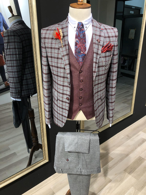 Pink Slim Fit Plaid Check Suit by GentWith.com with Free Shipping