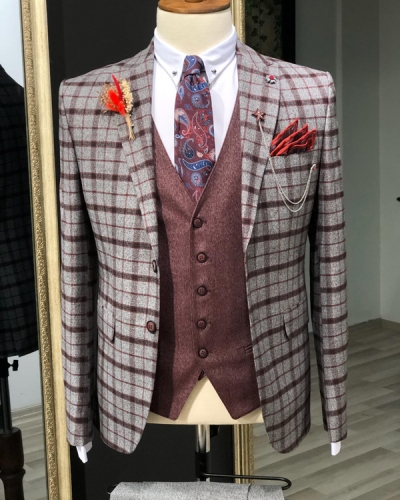 Gray Slim Fit Plaid Check Suit by GentWith.com with Free Shipping