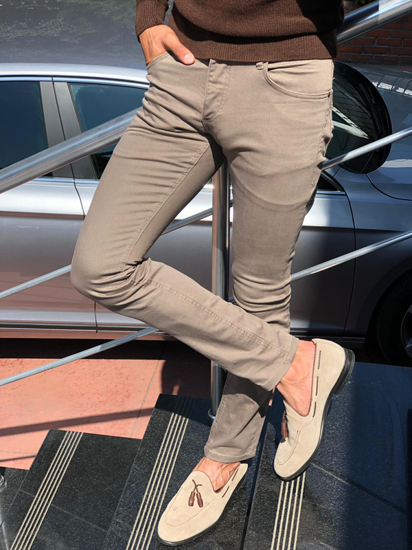 Beige Slim Fit Cotton Pants by GentWith.com with Free Shipping