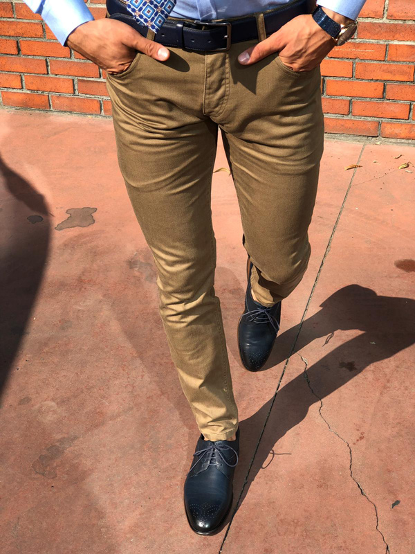 Brown Slim Fit Pants by GentWith.com with Free Shipping