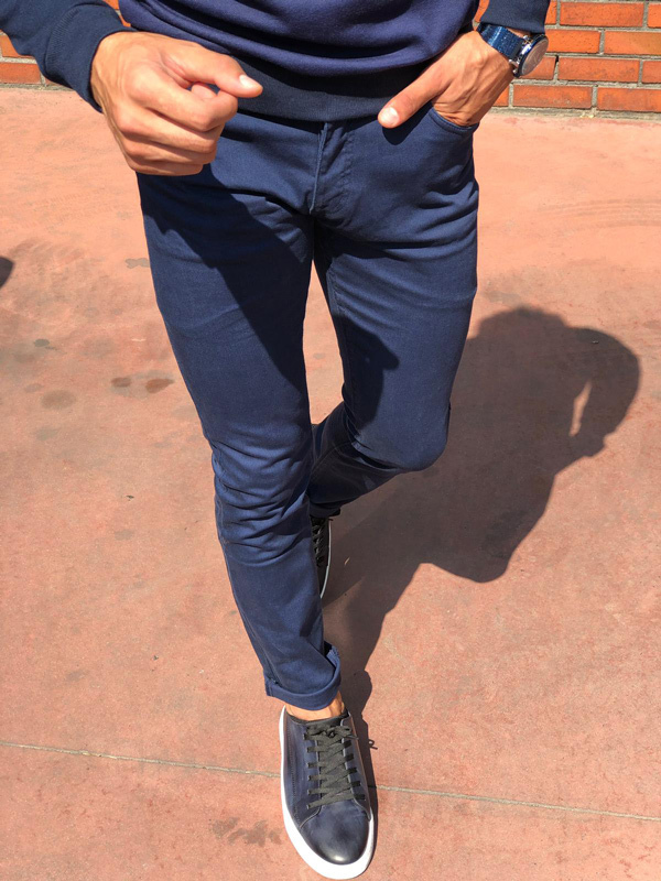 Blue Slim Fit Cotton Pants by GentWith.com with Free Shipping