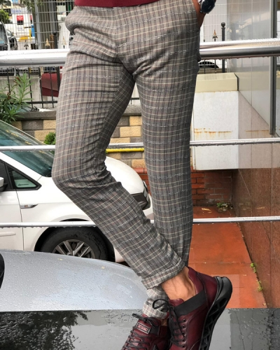 Claret Red Slim Fit Plaid Pants by GentWith.com with Free Shipping