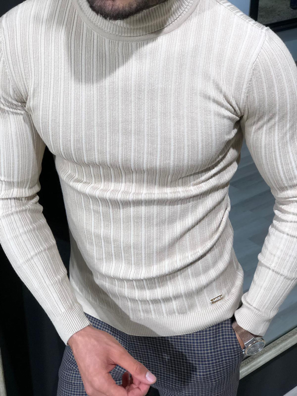 Beige Slim Fit Ribbed Turtleneck Sweater by GentWith.com with Free Shipping