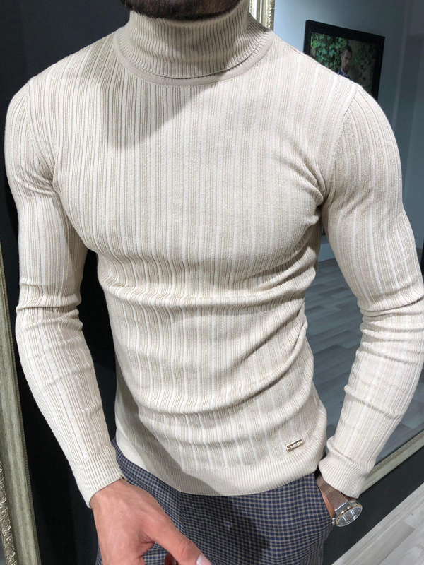 Beige Slim Fit Turtleneck Ribbed Sweater by GentWith.com with Free Shipping