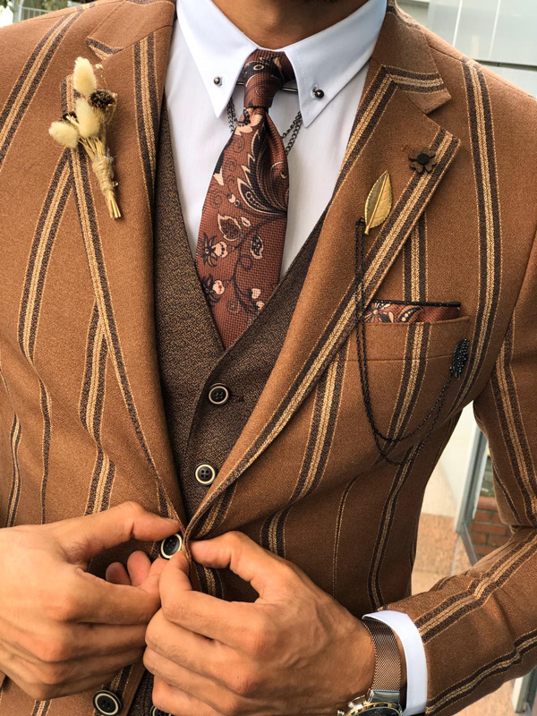 Brown Slim Fit Striped Suit by GentWith.com with Free Shipping