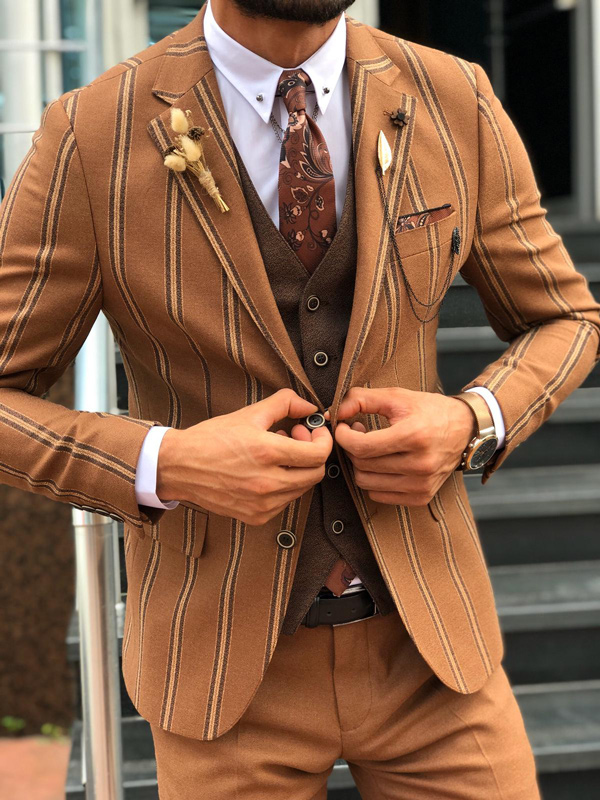 Brown Chalk Stripe Suit by GentWith.com with Free Shipping