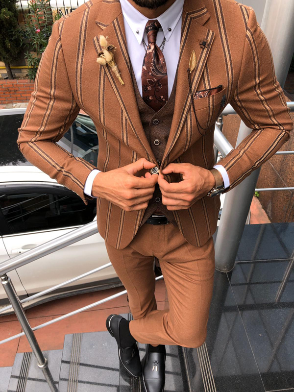 Brown Slim Fit Chalk Stripe Suit by GentWith.com with Free Shipping