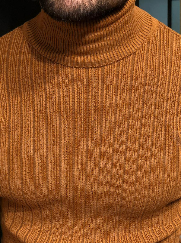 Brown Slim Fit Turtleneck Ribbed Sweater by GentWith.com with Free Shipping