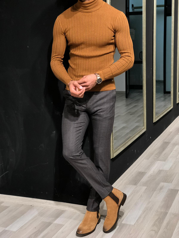Brown Slim Fit Turtleneck Sweater by GentWith.com with Free Shipping