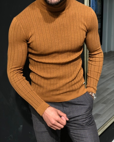Brown Slim Fit Ribbed Turtleneck Sweater by GentWith.com with Free Shipping
