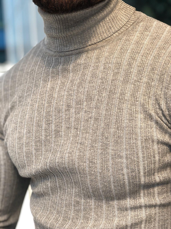 Gray Slim Fit Ribbed Turtleneck Sweater by GentWith.com with Free Shipping