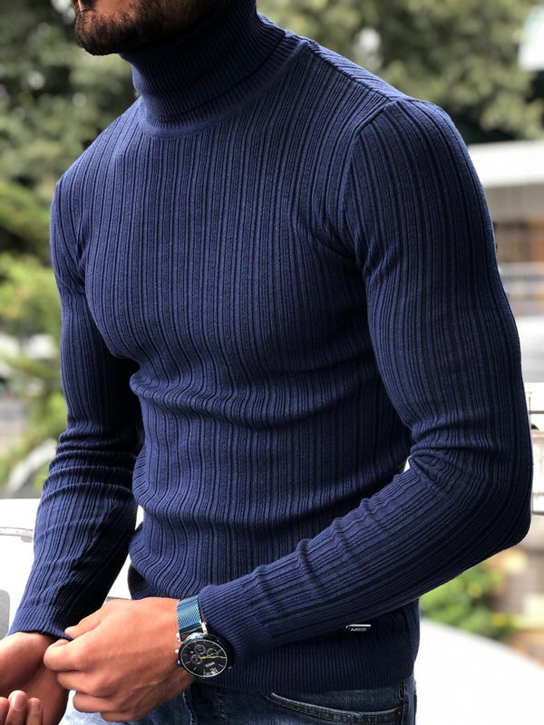 Indigo Slim Fit Ribbed Turtleneck Sweater by GentWith.com with Free Shipping