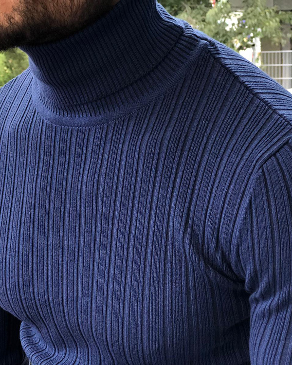Indigo Turtleneck Ribbed Sweater by GentWith.com with Free Shipping