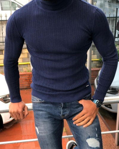 Indigo Slim Fit Turtleneck Ribbed Sweater by GentWith.com with Free Shipping