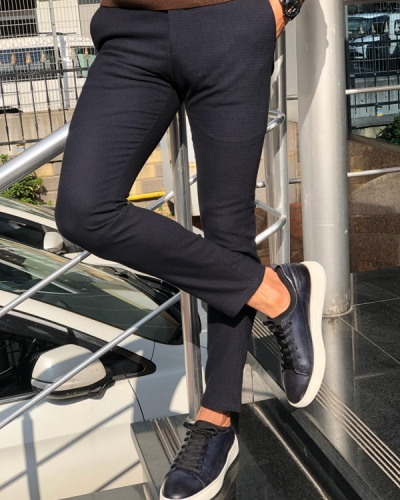 Navy Blue Slim Fit Patterned Pants by GentWith.com with Free Shipping