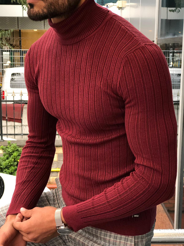Red Slim Fit Ribbed Turtleneck Sweater by GentWith.com with Free Shipping