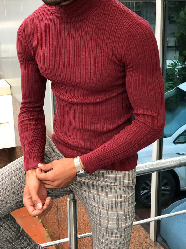 Red Slim Fit Turtleneck Ribbed Sweater by GentWith.com with Free Shipping