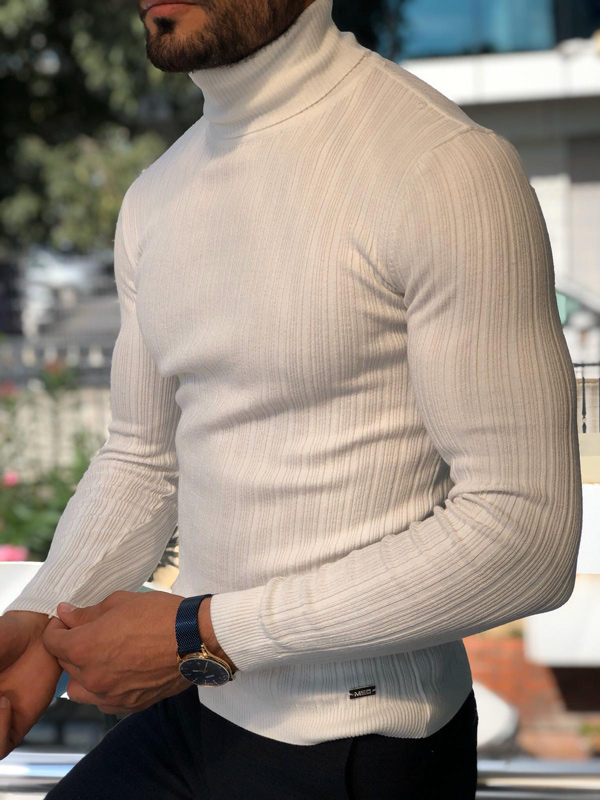 White Slim Fit Ribbed Turtleneck Sweater by GentWith.com with Free Shipping
