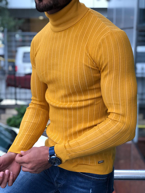 Yellow Slim Fit Ribbed Turtleneck Sweater by GentWith.com with Free Shipping