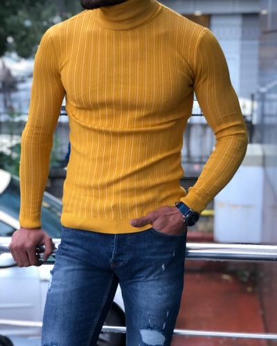 Yellow Slim Fit Turtleneck Ribbed Sweater by GentWith.com with Free Shipping