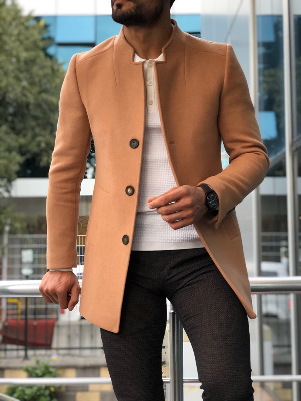 Camel Slim Fit Wool Coat by GentWith.com with Free Shipping
