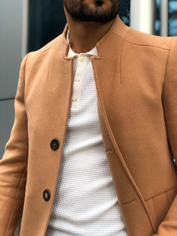 Brown Wool Long Coat by GentWith.com with Free Shipping