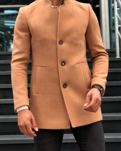 Camel Slim Fit Wool Long Coat by GentWith.com with Free Shipping